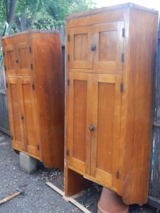 Need some loving restoration work, but these cabinets have great potential!  They are not free-standing - propped up for these photos.