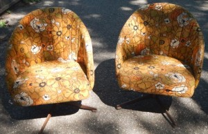 If you like the vintage look, the fabric is in perfect condition.  comfy chairs are big enough to curl up in.  Also rock and swivel.  Great for a dorm or rec room.