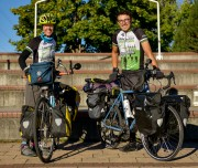 Representatives for LowCarbon Crossings, Mindy Ahler, left, and Ryan Hall set off to continue their cross country journey early Saturday morning after taking a day of rest in Missoula.  In effort to gain awareness about climate issues and solutions, the two are on a 11-week bike tour from Seaside, Ore, to Washington, D.C.